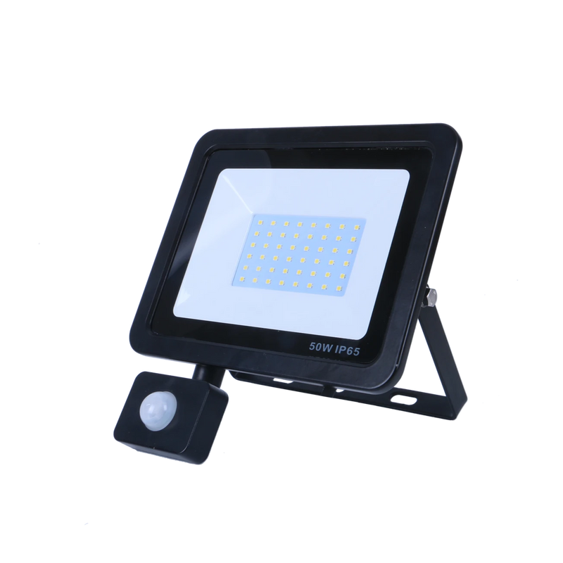 SND Electrical FLSMD50W/PIRO/6K/B -5 50w Floodlight 6500k Black (PIR) - SND Electrical Ltd