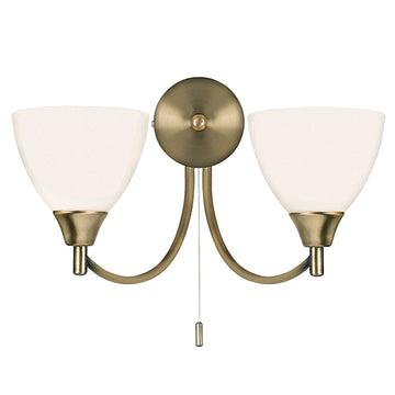 Endon 1805-2AN Alton 2 Light Antique Brass Wall Light