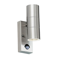 Endon EL-40062 Canon PIR Stainless Steel 2 Light Wall Light IP44 - SND Electrical Ltd
