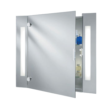 Searchlight 6560 Bathroom Mirror with Cabinet & Shaver Socket