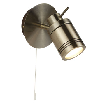 Searchlight 6601AB Antique Brass Bathroom Wall Spotlight