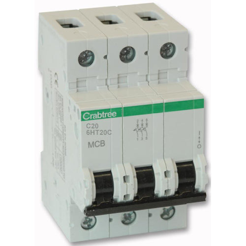 Crabtree 6HT20C 20A TP Type C MCB - SND Electrical Ltd