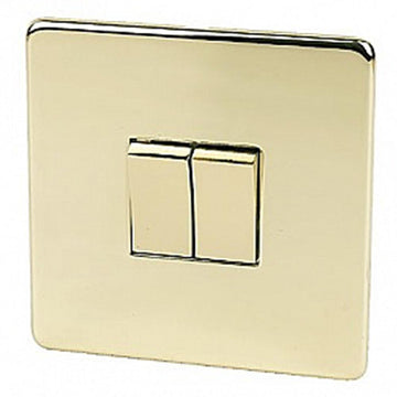 2 Gang Switch Crabtree Platinum Brass