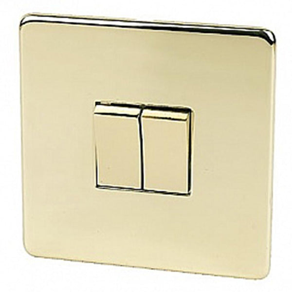 2 Gang Switch Crabtree Platinum Brass - SND Electrical Ltd