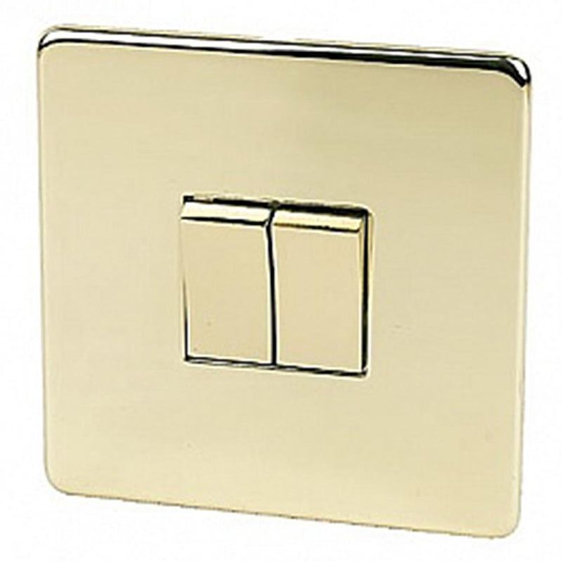Crabtree Platinum 7172-PB 2 Gang Switch Brass - SND Electrical Ltd