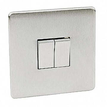 Crabtree Platinum 7172-SC 2 Gang Switch Satin Chrome