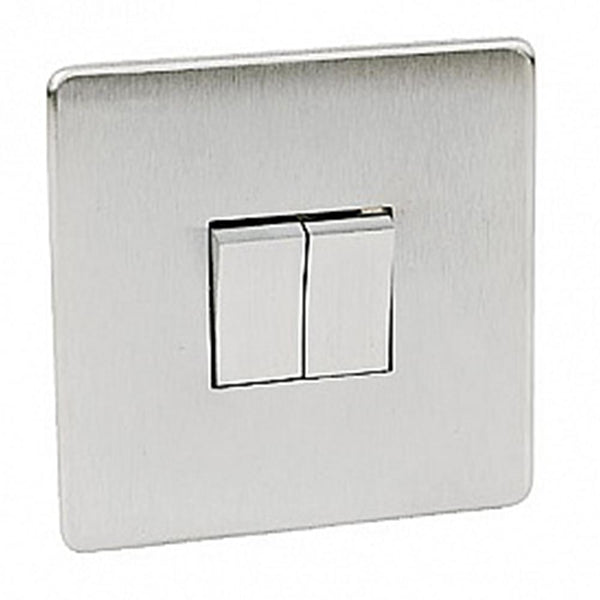 Crabtree Platinum 7172-SC 2 Gang Switch Satin Chrome - SND Electrical Ltd