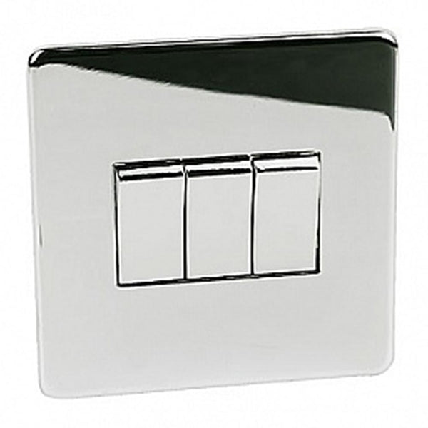 Crabtree Platinum 7173-HPC 3 Gang Switch Highly Polished Chrome - SND Electrical Ltd