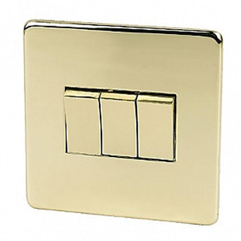 Crabtree Platinum 7173-PB 3 Gang Switch Brass - SND Electrical Ltd
