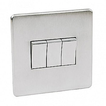 Crabtree Platinum 7173-SC 3 Gang Switch Satin Chrome