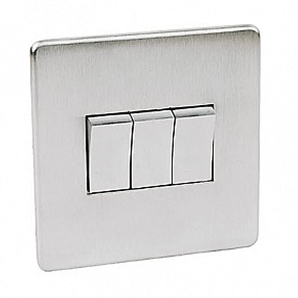 Crabtree Platinum 7173-SC 3 Gang Switch Satin Chrome - SND Electrical Ltd