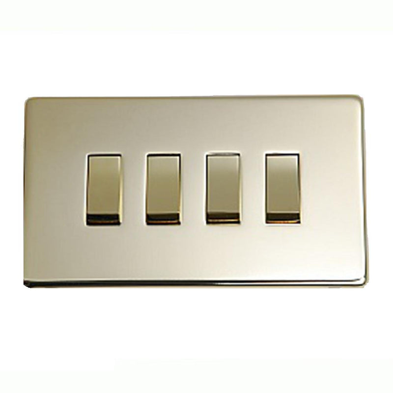 Crabtree Platinum 7174-PB 4 Gang Switch Brass - SND Electrical Ltd