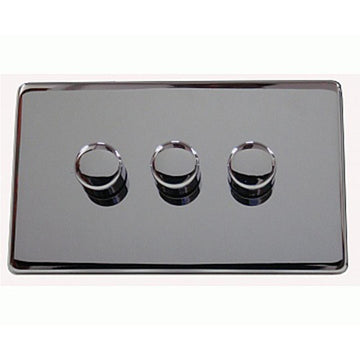 3 Gang Dimmer Crabtree Platinum Highly Polished Chrome