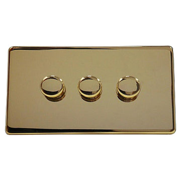 3 Gang Dimmer Crabtree Platinum Brass