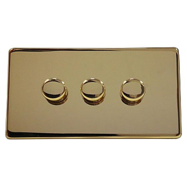 3 Gang Dimmer Crabtree Platinum Brass - SND Electrical Ltd