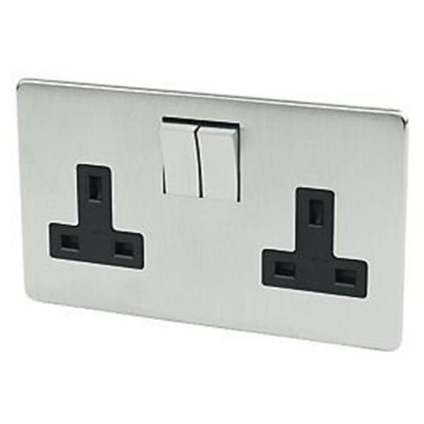 Crabtree Platinum 7316-SC 2 Gang Socket Satin Chrome - SND Electrical Ltd