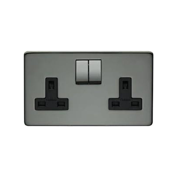 Crabtree Platinum 7316-BKN 2 Gang Socket Black Nickel - SND Electrical Ltd