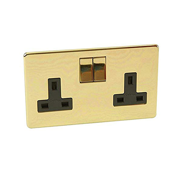 Crabtree Platinum 7316-PB 2 Gang Socket Brass - SND Electrical Ltd