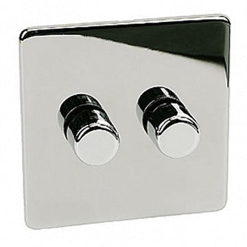 2 Gang Dimmer Crabtree Platinum Highly Polished Chrome