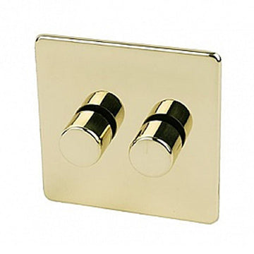 2 Gang Dimmer Crabtree Platinum Brass