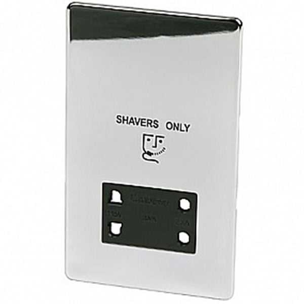 Shaver Socket Crabtree Platinum Highly Polished Chrome - SND Electrical Ltd