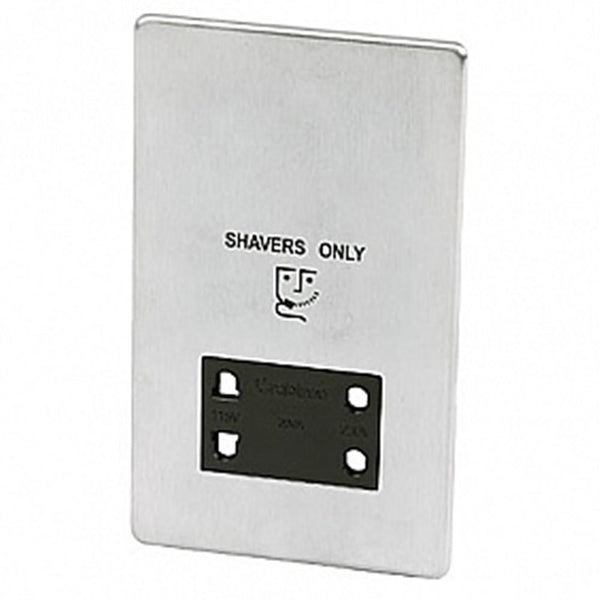 Crabtree Platinum 7411-SC Shaver Socket Satin Chrome - SND Electrical Ltd