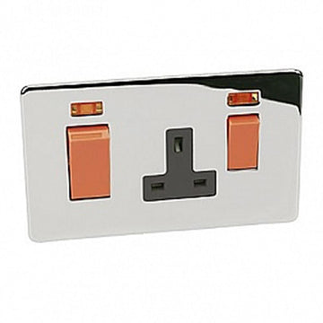 45A DP Switch + Socket Crabtree Platinum Highly Polished Chrome