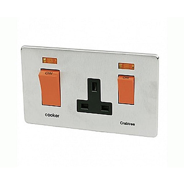 Crabtree Platinum 7521-1-SC 45A DP Switch + Socket Satin Chrome - SND Electrical Ltd