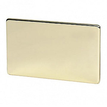 2 Gang Blank Plate Crabtree Platinum Brass