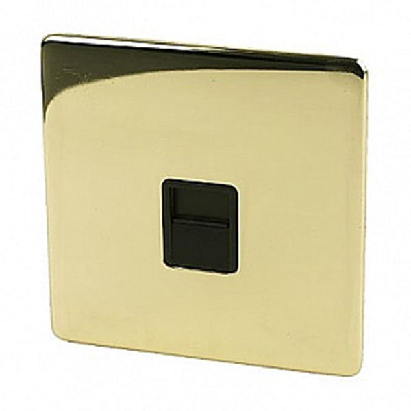Crabtree Platinum 7783-PB Telephone Socket Slave Platinum Brass - SND Electrical Ltd
