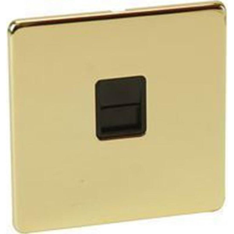 Crabtree Platinum 7784-PB Telephone Socket Master Crabtree Platinum 7784-PB Brass - SND Electrical Ltd