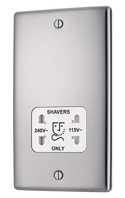 BG NBS20W Brushed Steel Shaver Socket Dual Voltage 115v / 230v White Insert - SND Electrical Ltd