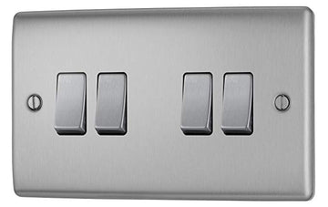 BG NBS44 Brushed Steel 4 Gang 2 Way 10 Amp 10AX Light Switch Plate