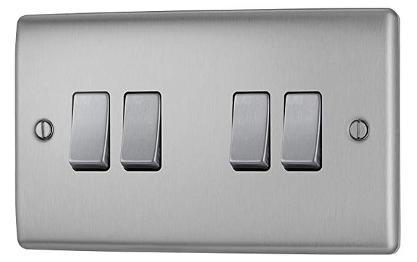 BG NBS44 Brushed Steel 4 Gang 2 Way 10 Amp 10AX Light Switch Plate - SND Electrical Ltd