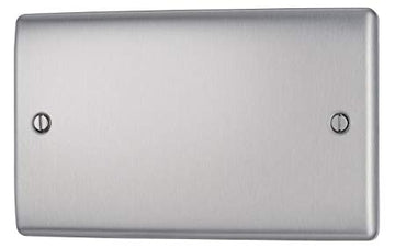BG NBS95 Brushed Steel 2 Gang Double Blank Plate (Double)