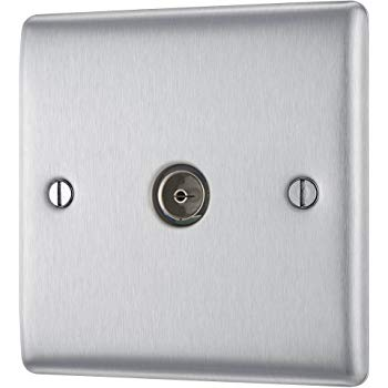 BG NBS60 Brushed Steel 1 Gang Co Axial (TV) Outlet - Television Socket - SND Electrical Ltd