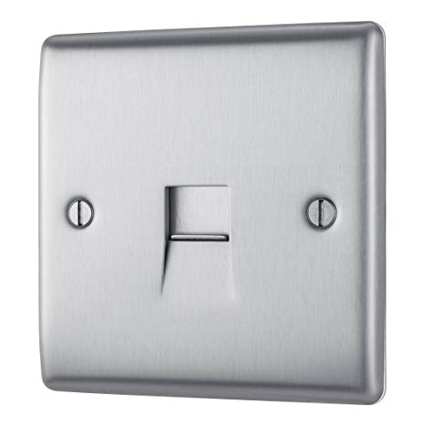 BG NBSBTS1 Brushed Steel 1 Gang Slave (Secondary) Telephone Socket - SND Electrical Ltd