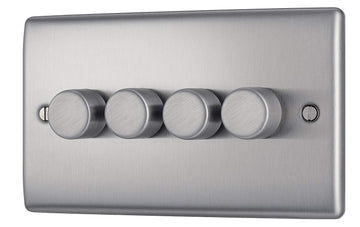 BG NBS84P Brushed Steel 4 Gang 2 Way 400w Dimmer