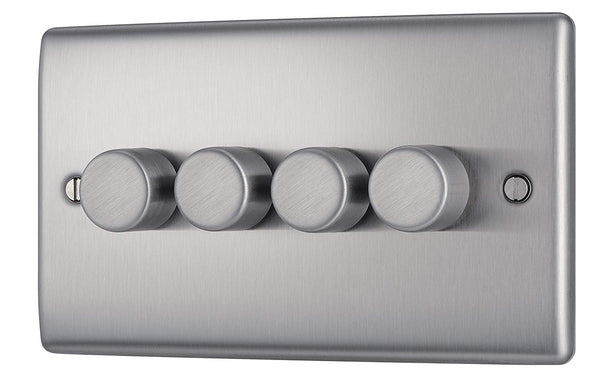 BG NBS84P Brushed Steel 4 Gang 2 Way 400w Dimmer - SND Electrical Ltd