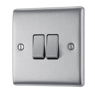 BG NBS42 Metal Brushed Steel Light Switch Plate Double 2 Gang 2 Way