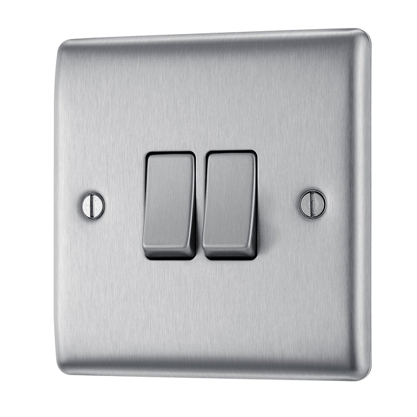 BG NBS42 Metal Brushed Steel Light Switch Plate Double 2 Gang 2 Way - SND Electrical Ltd