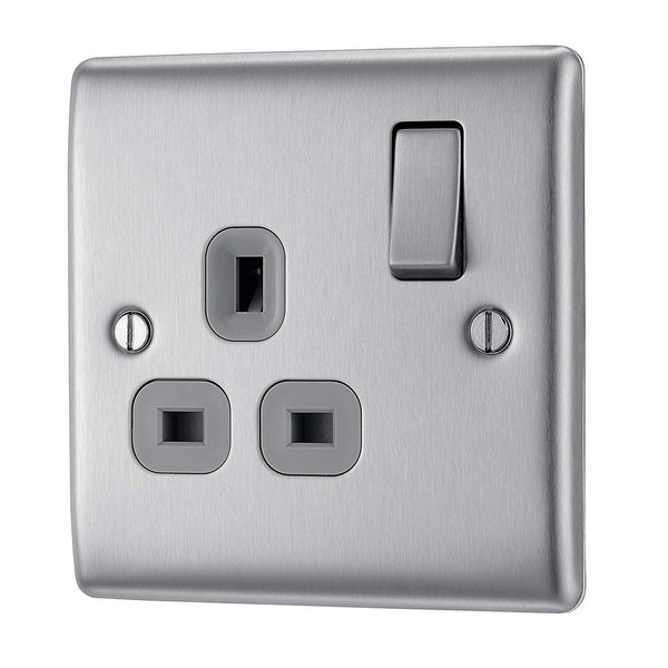 BG NBS21G Brushed Steel 1 Gang 13 Amp Switched Socket Double Pole Grey Insert - SND Electrical Ltd