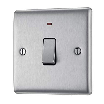 BG NBS31 Brushed Steel 20 Amp Double Pole Switch with Neon Indicator