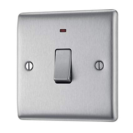 BG NBS31 Brushed Steel 20 Amp Double Pole Switch with Neon Indicator - SND Electrical Ltd