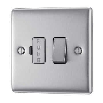BG NBS50 Metal Brushed Steel Fused Connection Spur Unit 13A Switched