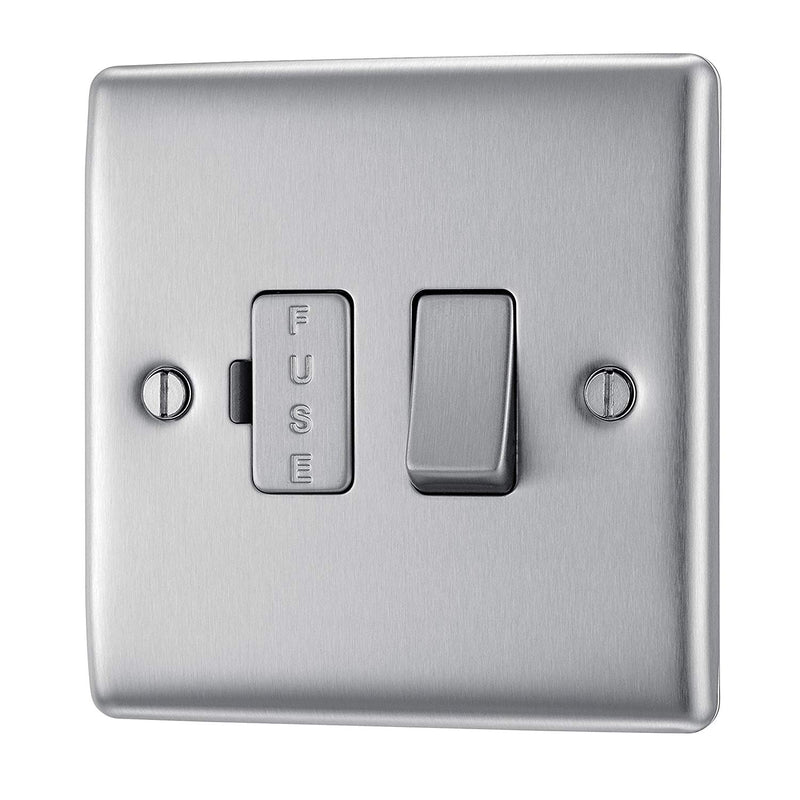 BG NBS50 Metal Brushed Steel Fused Connection Spur Unit 13A Switched - SND Electrical Ltd