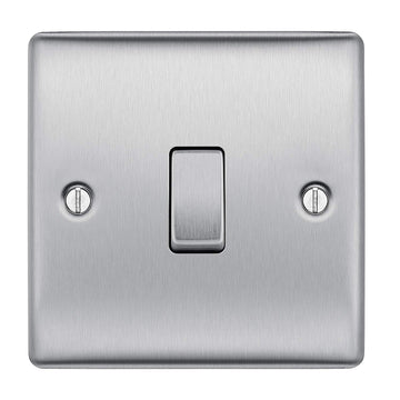 BG NBS12 Brushed Steel Light Switch Plate Single 1 Gang 2 Way