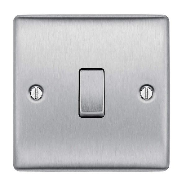 BG NBS12 Brushed Steel Light Switch Plate Single 1 Gang 2 Way - SND Electrical Ltd