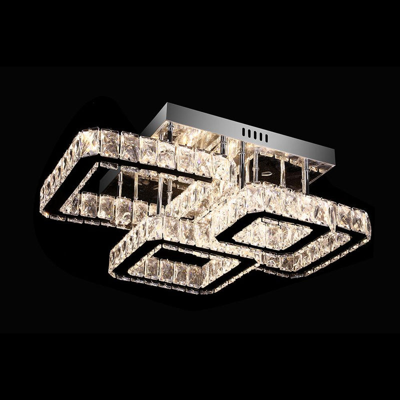 A1080 Khush Lighting Remote Colour Changing LED 4 Light Square Semi Flush Chandelier - SND Electrical Ltd