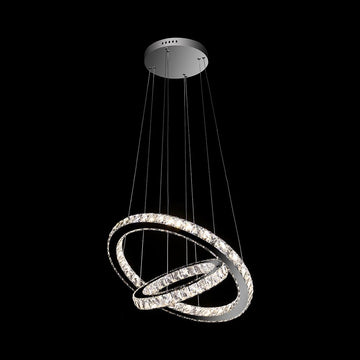 A2050 Khush Lighting Colour Changing LED 90cm Double Ring Suspended Chandelier